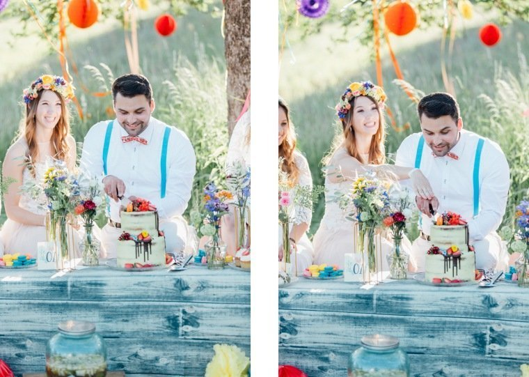 festival-wedding-Gartenhochzeit-Heilbronn-061-Brautpaar-Tortenanschnitt-Hochzeitstorte-Boho-dripped-cake-Wiesenhochzeit
