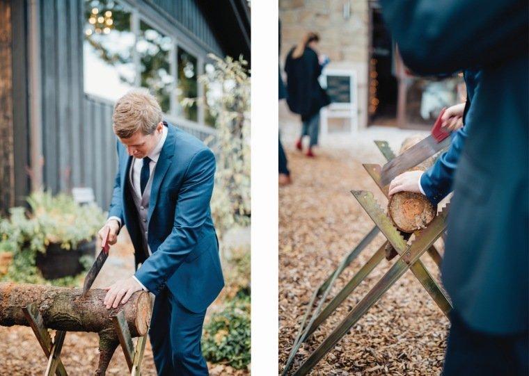 Hochzeitsfotos-Heilbronn-Hochzeitsreportage-034-Herbsthochzeit-Hochzeitsspiel-Baumstamm-Sägen