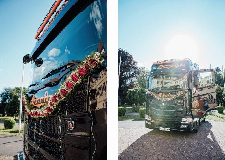 Rockabilly Hochzeit! Scania Truck statt Brautauto.