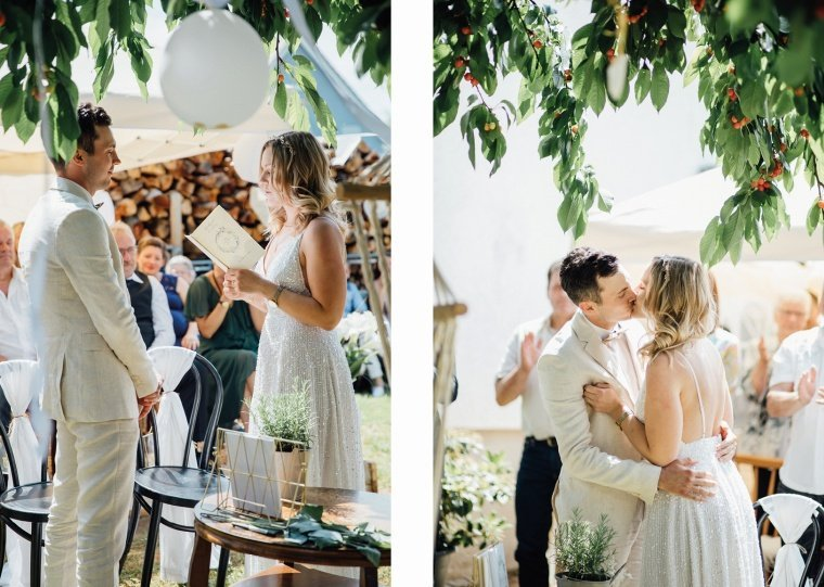 Boho-Gartenhochzeit-Zeremonie
