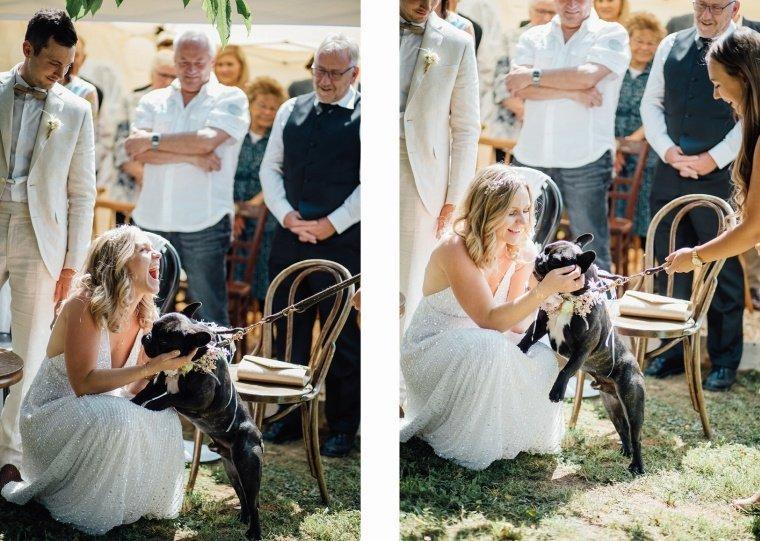Boho-Brautpaar-Gartenhochzeit-Hochzeitshund