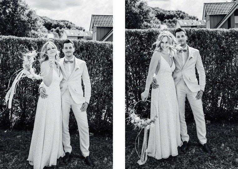 Boho-Brautpaar-Gartenhochzeit