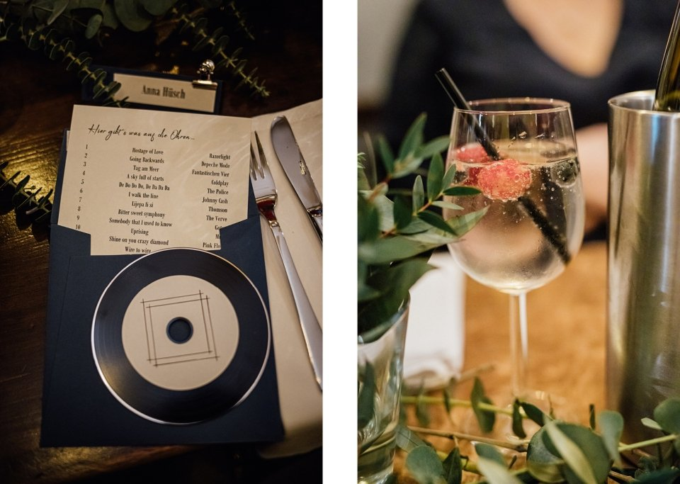 Tischdekoration an der Hochzeit mit welcome drink