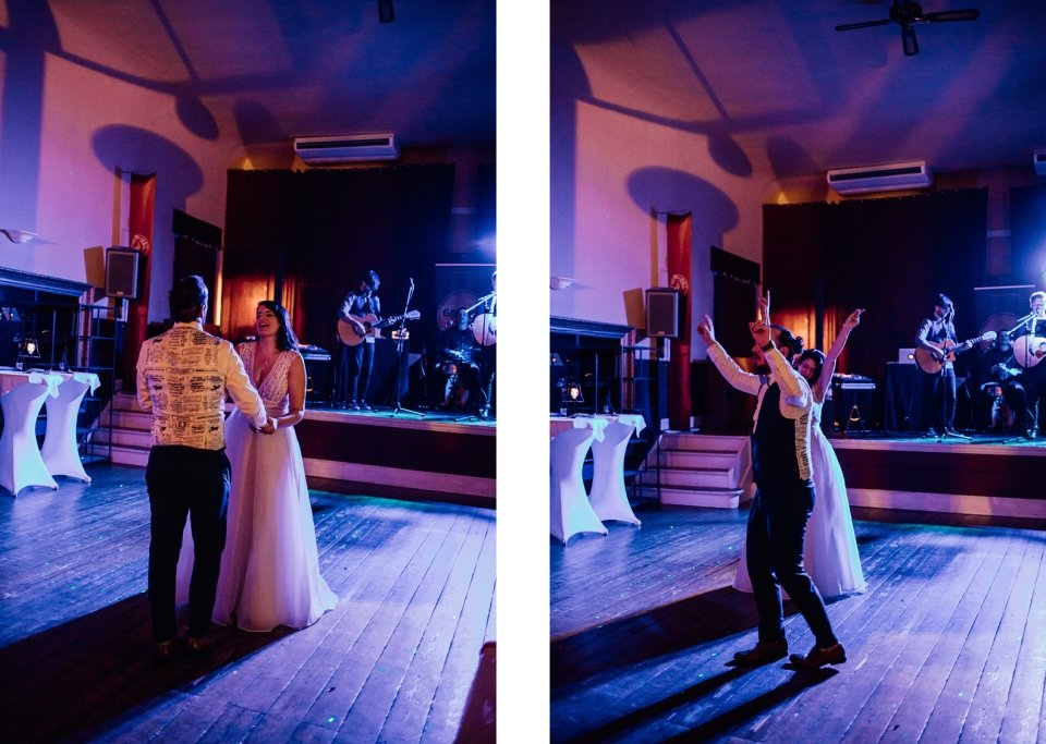 Brautpaar auf Hochzeitsparty beim Tanzen