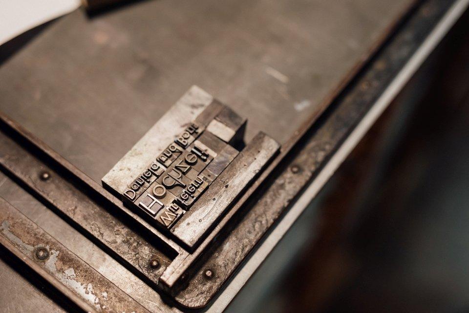 Schriftsetzung Druckmaschine